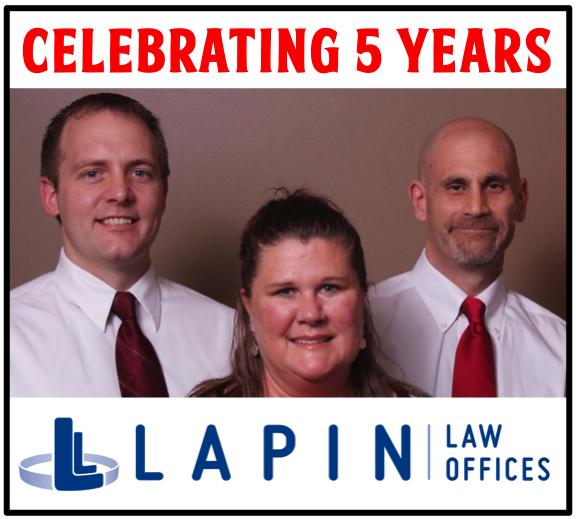 Celebrating 5 Years - Patrick Driver, Jill Tinnelly and Jeffrey Lapin - Lapin Law Offices